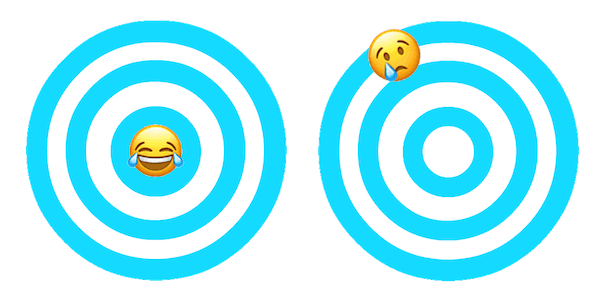 target with a smiling emoji